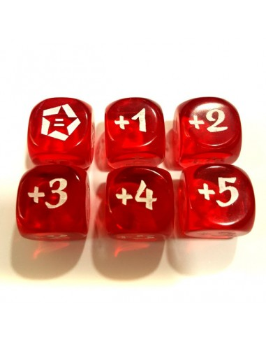 Dados. Tokens Bonos L5R. Rojo (+1~+5)