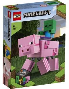 Lego. BigFig: Cerdo con Bebé Zombi. Minecraft