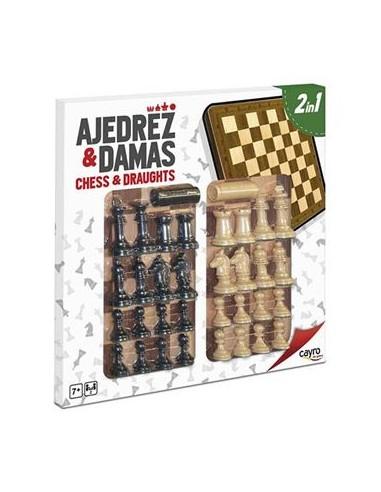 Tablero de Ajedrez y Damas con Piezas...